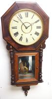 Impressive Victorian American Drop Dial Wall Clock 8 Day Movement Inlaid Case (7 of 14)