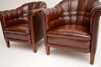 Pair of Antique Swedish Leather Armchairs (10 of 10)