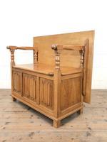 Antique Panelled Pale Oak Monk's Bench (m-2300) (7 of 9)