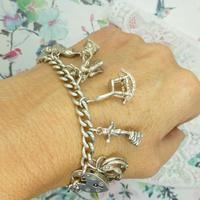 Vintage sterling silver English charm bracelet ~ 12 Charms & Heart padlock~ 50grams (5 of 8)