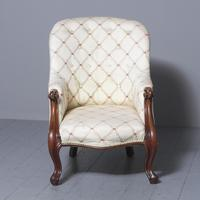 Antique Victorian Upholstered Mahogany Armchair (2 of 7)