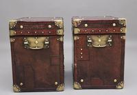 Pair of Early 20th Century ex Army Leather Bound ex Army Trunks (5 of 10)
