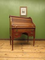 Antique Oak Roll Top Writing Desk, Tambour Front Bureau Desk (20 of 20)