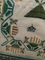 """Large Antique Needlework Sampler 1835 Mary Ann Fulcher 13yrs in Frame 14"""" x 19"""" (9 of 12)"""