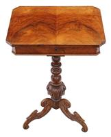 Victorian Burr Walnut Work Side Sewing Table Box c.1860 (2 of 8)