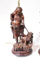 Set Hand Carved Chinese Buddha Lamps Antique Lights Figurines 1880 (3 of 16)