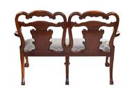 Fine Georgian Revival Walnut Chair back Settee, with carved Eagle head c.1900 (3 of 7)