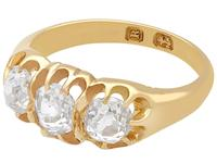 1.05ct Diamond & 18ct Yellow Gold Trilogy Ring - Antique 1866 (3 of 9)