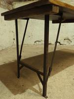 Industrial Vintage Folding Trestle Dining Table with Metal Legs & Reclaimed Top (5 of 17)