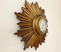Stylish Art Deco Carved Giltwood Starburst Clock c.1930 (2 of 8)