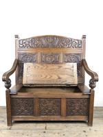 Victorian Carved Oak Settle or Hall Bench (10 of 16)