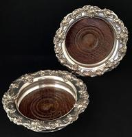 Pair of Victorian Silver Plate on Copper Bottle Coasters (3 of 6)