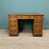 Victorian Golden Oak Antique Pedestal Desk