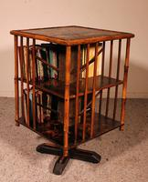 English Revolving Bookcase Early 20th Century in Bamboo & Asian Decor (2 of 10)