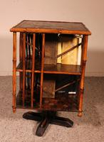 English Revolving Bookcase Early 20th Century in Bamboo & Asian Decor (6 of 10)