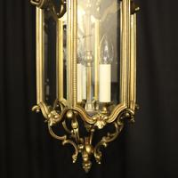 French Gilded Triple Light Antique Hall Lantern (9 of 10)