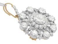6.10ct Diamond & 9ct Yellow Gold Brooch / Pendant - Antique Victorian (5 of 15)