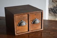 Vintage Mid Century Industrial Oak Bank of Two Drawers (2 of 10)
