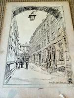 Hanslip Fletcher Original Pen & Ink Drawing & another Lithograph- London Scene 1928 (7 of 9)