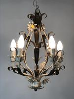 Vintage Rustic Original French Toleware Daisies Ceiling Light Chandelier (2 of 9)
