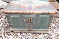 Scandinavian / Swedish 'Folk Art' Baroque Style Blue-Green Original Painted Table Box Late 18th Century (11 of 35)