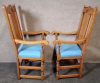 Pair of Oak Reproduction High Back Armchairs (8 of 11)
