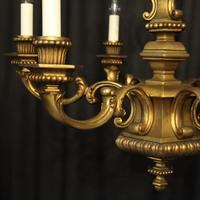 French Gilded Bronze 6 Light Antique Chandelier (10 of 10)