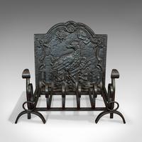 Antique Fireside Set, English, Fire Basket, Andirons, Back, Victorian c.1900 (11 of 12)