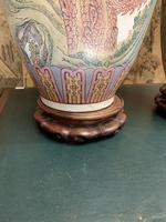 Pair of Early 20th Century Chinese Painted Lamps (4 of 5)