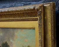 19th Century Country Farmhouse Scene,  Oil on Canvas. Original Gilt Frame. (5 of 5)