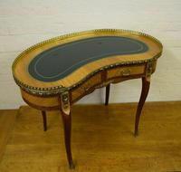 Quality satinwood & mahogany kidney shaped writing desk by h&l Epstein