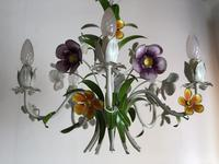 Vintage French 5 Arm Floral Toleware Chandelier (2 of 11)