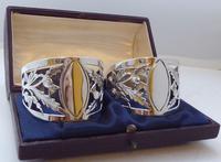 Pair of Walker & Hall Scottish Thistle 1927 Silver Napkin Rings Serviette Ring (2 of 9)