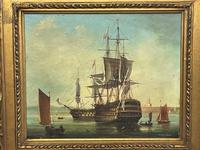 Seascape Oil Painting First Rate Man O War Ships Portsmouth Harbour Signed Brian Coole (7 of 39)