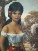 Large Decorative Portrait Oil Painting Gypsy Girl Wearing Gold Earring (4 of 12)