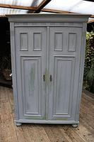 Fabulous Old Pine & Grey Painted Wardrobe / Hall / Kitchen Cupboard - We Deliver! (2 of 12)