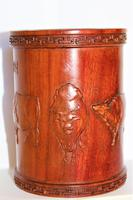 Superb & Finely Carved Chinese Hardwood Brush Pot (4 of 8)