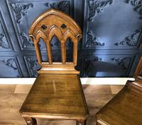Pair of Victorian Gothic Style Hall Chairs (8 of 13)