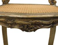 Pair of Antique Carved Giltwood & Cane Rout Chairs (7 of 8)