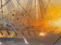 "Seascape Oil Painting Naval Frigate Ships Napoleonic War Sea ""Battle Trafalgar"" (21 of 25)"