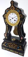 Antique Boulle Inlaid Mantel Clock Ebony French Portico Mantle Clock (5 of 6)