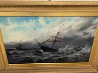 Huge 19th Century Seascape Oil Painting Sinking Ship Signalling Rescuers by Henry E Tozer (36 of 58)