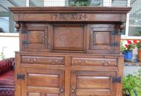 Country Oak Court Cupboard 1734 Carved Initials RTK (9 of 14)