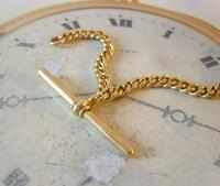 Antique Pocket Watch Chain 1890s Victorian Large 14ct Gold Filled Albert With T Bar (7 of 12)