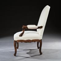 Generous French 19th Century Carved Open Armchair Fauteuil (4 of 7)