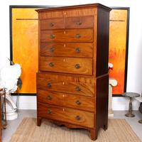 Chest on Chest of Drawers 19th Century Inlaid Mahogany (7 of 11)