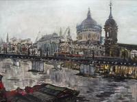 Large Oil on Board The Thames Listed Artist Sheila Appleton