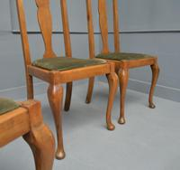 Set of Four 1920s Queen Anne Style Walnut Dining Chairs (14 of 16)