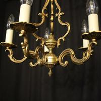 French Gilded Brass 5 Light Chandelier (8 of 10)