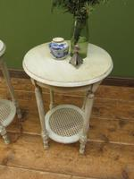 Pair of Round Gustavian Shabby Chic bedside Tables, White & Grey (6 of 12)